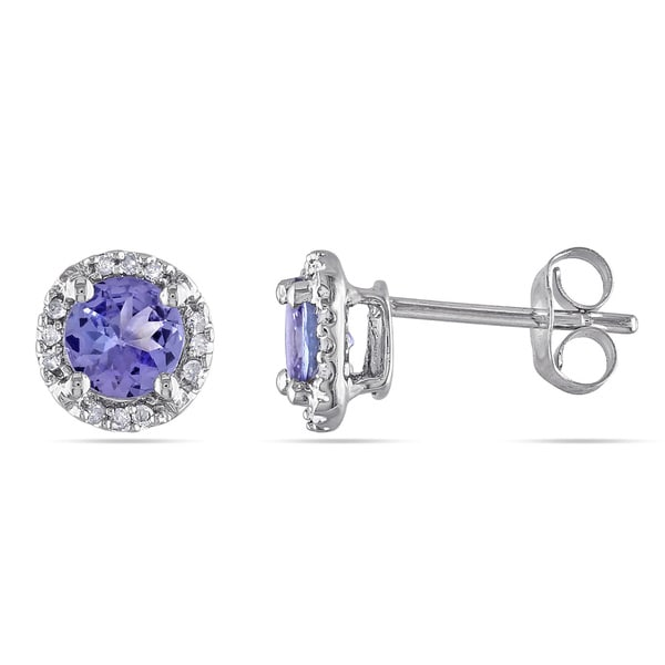 Miadora 10k White Gold Tanzanite and Diamond Accent Round Stud Earrings
