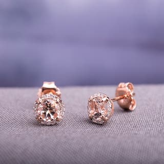 Miadora 10K Rose Gold 0.07ct TDW Diamond and 1ct TGW Morganite Stud Earrings|https://ak1.ostkcdn.com/images/products/6153171/P13811544.jpg?impolicy=medium