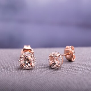 Miadora 10K Rose Gold 0.07ct TDW Diamond and 1ct TGW Morganite Stud Earrings