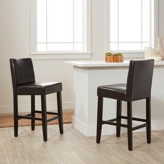 Villa Brown Faux Leather Counter Stools (Set of 2)