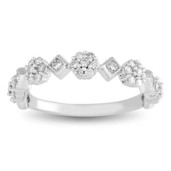 Miadora 14k White Gold 1/3ct TDW Diamond Shapes Ring