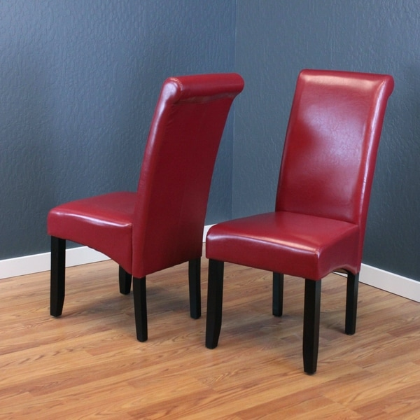 Milan Faux Leather Red Dining Chairs (Set of 2) - Free Shipping ...