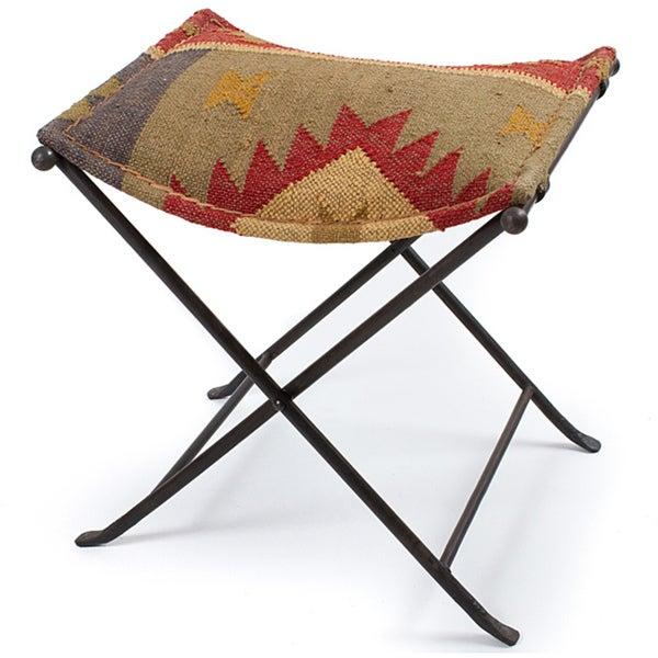 Iron Kilim Cloth Seat Stool (India)