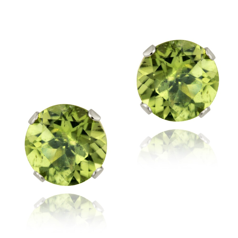 Glitzy Rocks 14k White Gold 2 1/2ct TGW 7-mm Peridot Stud Earrings