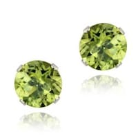 Glitzy Rocks 14k White Gold 2 1 2ct Tgw 7 Mm Peridot Stud Earrings