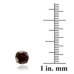 Glitzy Rocks 14k Yellow Gold 3 1/3ct TGW 7-mm Garnet Stud Earrings