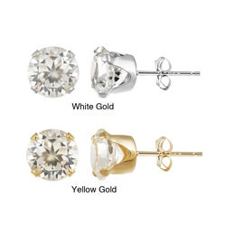 Glitzy Rocks 14k Yellow Gold 4 1/3 TGW 7mm Cubic Zirconia Stud Earrings