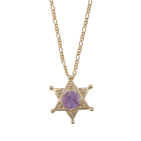 14k Yellow Gold Round Amethyst Star of David Necklace