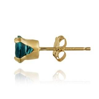 Glitzy Rocks 14k Yellow Gold 1 1/6ct TGW 5mm London Blue Topaz Stud Earrings