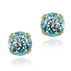Glitzy Rocks 14k Yellow Gold 5/8ct TGW 4-mm Swiss Blue Topaz Stud Earrings