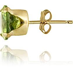 Glitzy Rocks 14k Yellow Gold 2 1/2ct TGW 7-mm Peridot Stud Earrings