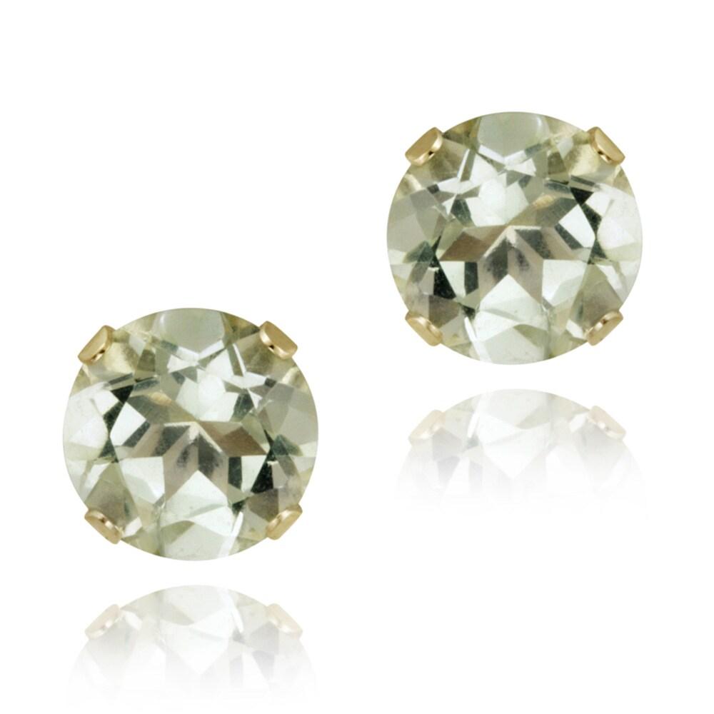 Glitzy Rocks 14k Yellow Gold 2 2/5ct TGW 7-mm Green Amethyst Stud Earrings