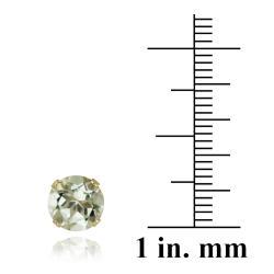 Glitzy Rocks 14k Yellow Gold 2 2/5ct TGW 7-mm Green Amethyst Stud Earrings - Thumbnail 2