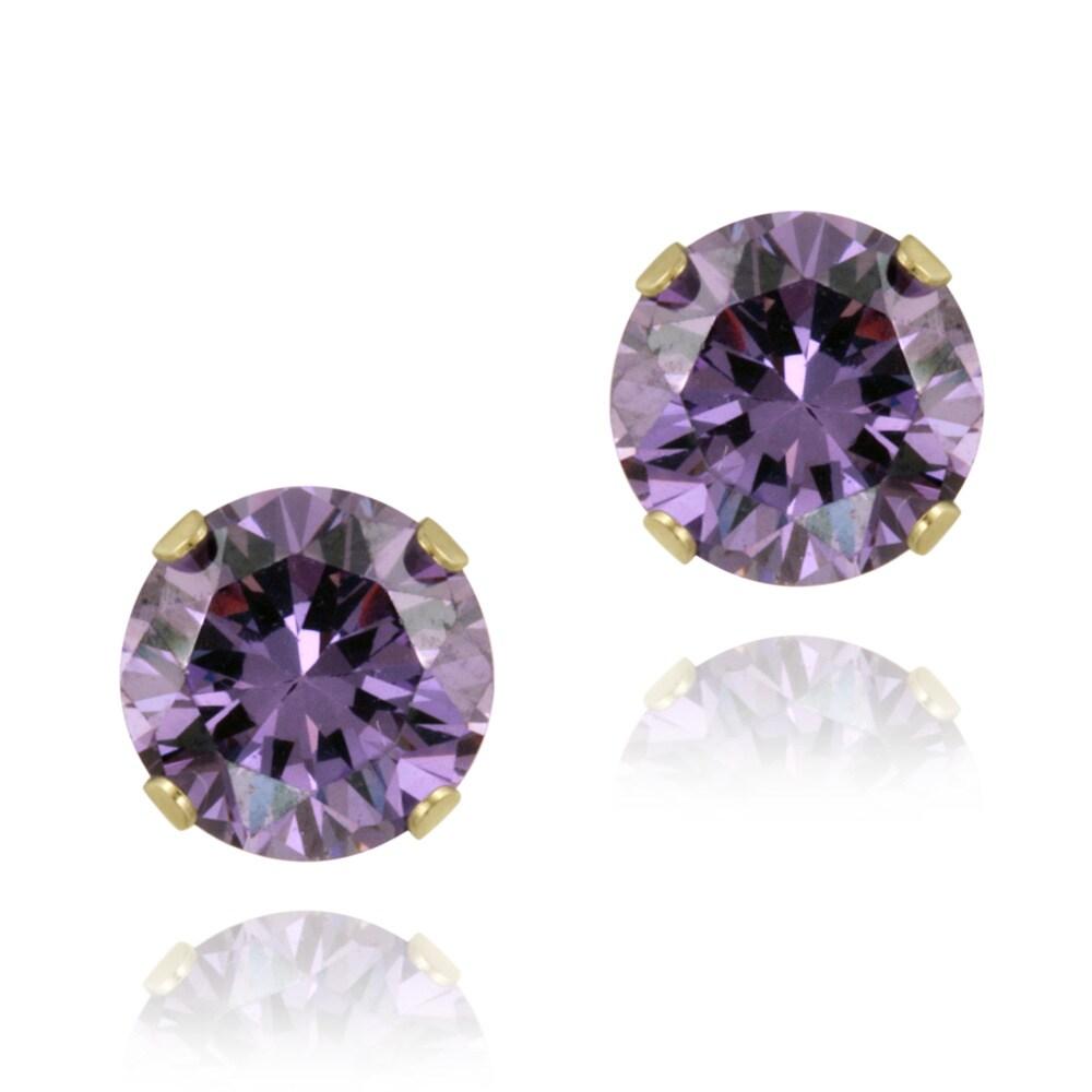 Glitzy Rocks 14k Yellow Gold 2 2/5ct TGW 7-mm Amethyst Stud Earrings
