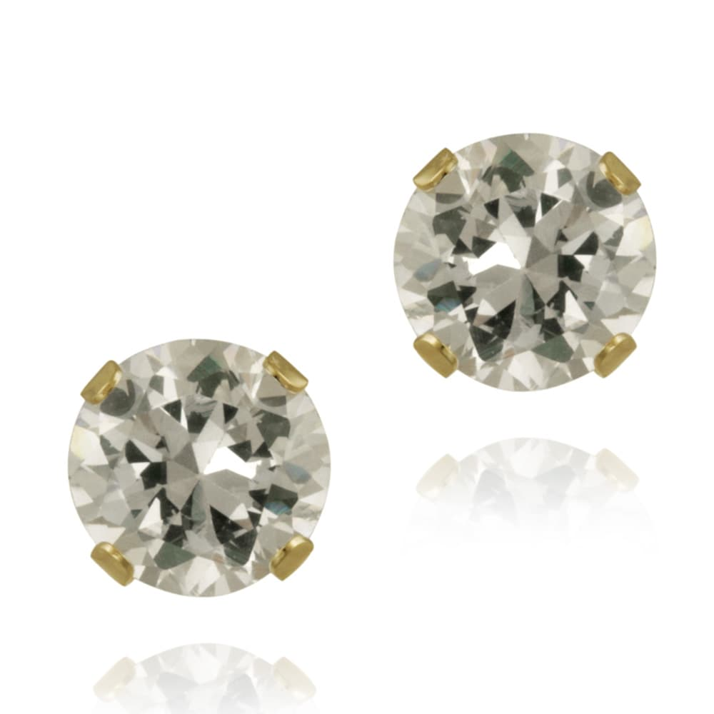 Glitzy Rocks 14k Yellow Gold 2 1/10ct TGW 6-mm White Topaz Stud Earrings