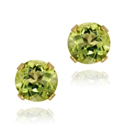 Glitzy Rocks 14k Yellow Gold 1 1/10ct TGW 5-mm Peridot Stud Earrings