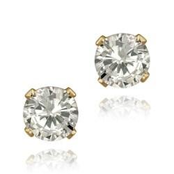 Glitzy Rocks 14k Yellow Gold 1 5/8ct TGW 5-mm Cubic Zirconia Stud Earrings