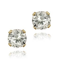 Glitzy Rocks 14k Yellow Gold 1 5 8ct Tgw Mm Cubic Zirconia Stud