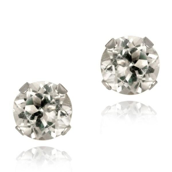 Glitzy Rocks 14k White Gold 3/5ct TGW 5mm White Topaz Stud Earrings