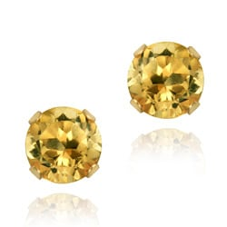 Glitzy Rocks 14k Yellow Gold 4/5ct TGW 5-mm Citrine Stud Earrings