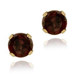 Glitzy Rocks 14k Yellow Gold 3/5ct TGW 4-mm Garnet Stud Earrings