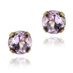 Glitzy Rocks 14k Yellow Gold 1/2ct TGW 4-mm Amethyst Stud Earrings
