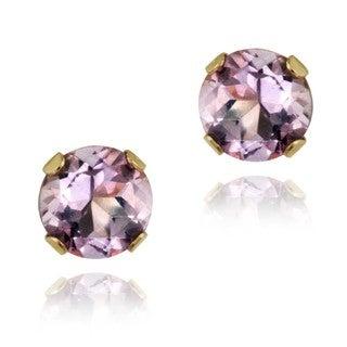 Glitzy Rocks 14k Yellow Gold 1/2ct TGW 4-mm Amethyst Stud Earrings