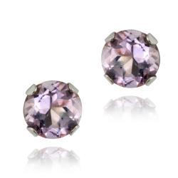 Glitzy Rocks 14k White Gold 1/2ct TGW 4-mm Amethyst Stud Earrings