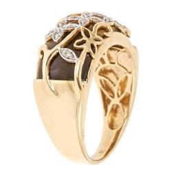 D'Yach 14k Yellow Gold Tiger Eye and Diamond Accent Ring (G-H, I1-I2) - Thumbnail 1