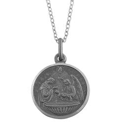 Fremada Oxidized Sterling Silver Round Baptismal Medal Necklace