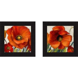 Lanie Loreth 'Poppy Splendor Square I and II(closeup)' Framed Print