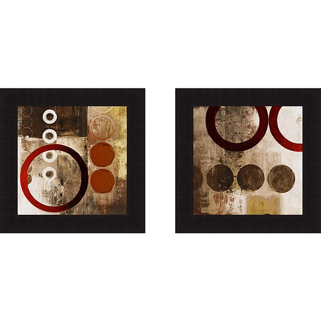 Michael Marcon 'Red Liberate Square I and II' Framed Print
