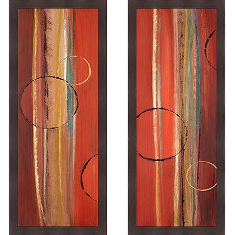 Lanie Loreth 'Orbiting Moons I & II' Framed Print Art - Orange
