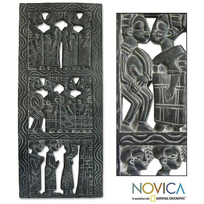 African Women Hand Carved Black Sese Wood Vertical Decor Accent Contemporary Artwork Wall Art Relief Panel (Ghana)