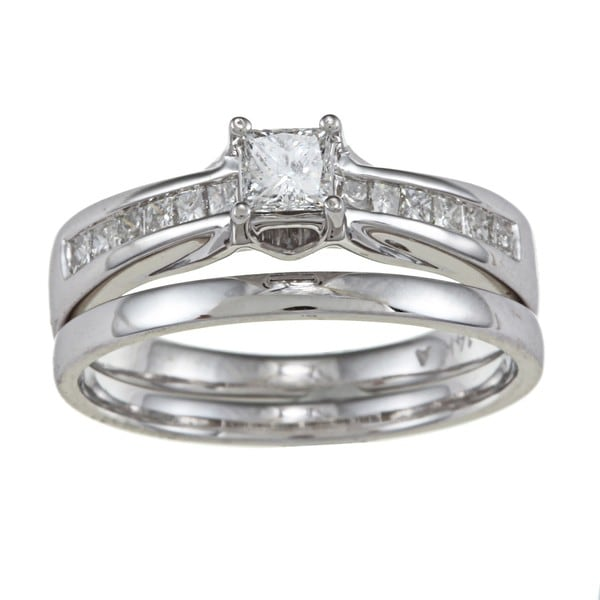 Montebello 14k White Gold 5/8ct TDW Princess-cut Diamond Wedding Set