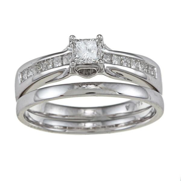 Montebello 14k White Gold 5/8ct TDW Princess-cut Diamond Wedding Set