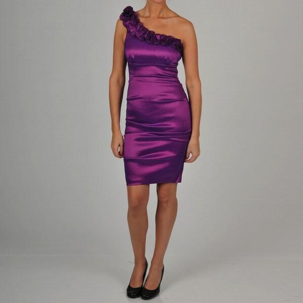 Onyx Nite Women's Purple Rosette One-shoulder Dress
