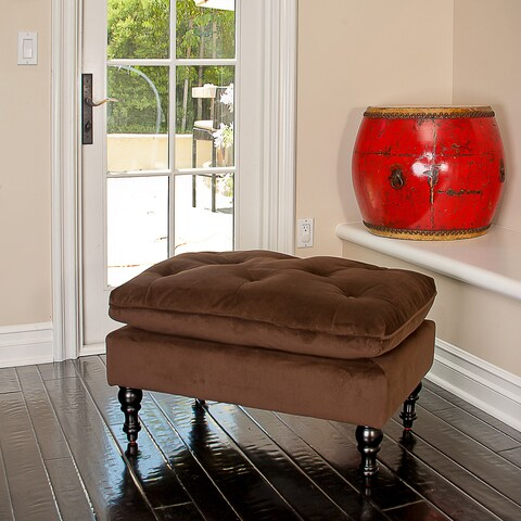 Christopher Knight Home Chocolate Brown Tufted Fabric Ottoman