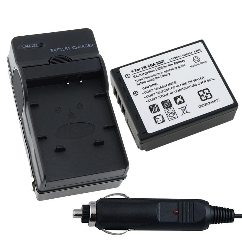 INSTEN Battery and Charger Set for Panasonic CGA-S007