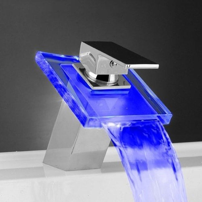 LED Color Changing Waterfall Bathroom Faucet - Thumbnail 0