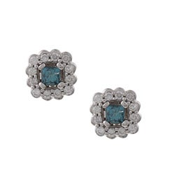 Eloquence 14k White Gold 7/8ct TDW Blue and White Diamond Stud Earrings