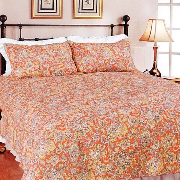 Lara Spice Paisley King-size 3-piece Quilt Set