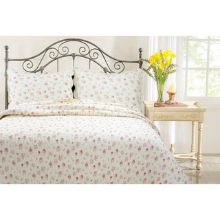 Cozy Line Pink Rose Garden Country Floral 3-piece Quilt Set