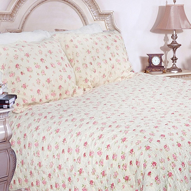 Pink Rose Garden King-size Quilt Set (Red, Green and Whit...