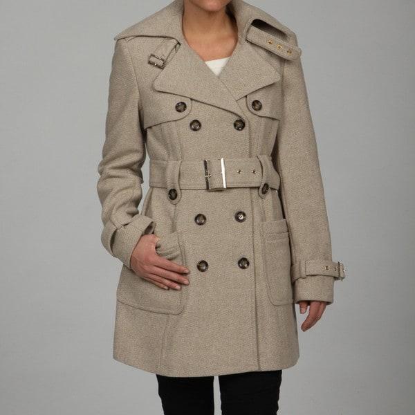 Calvin Klein Women's Oatmeal Belted Twill Coat