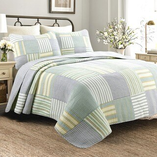 Copper Grove Charnwood Spa Stripes Patchwork Quilt Set (2 options available)