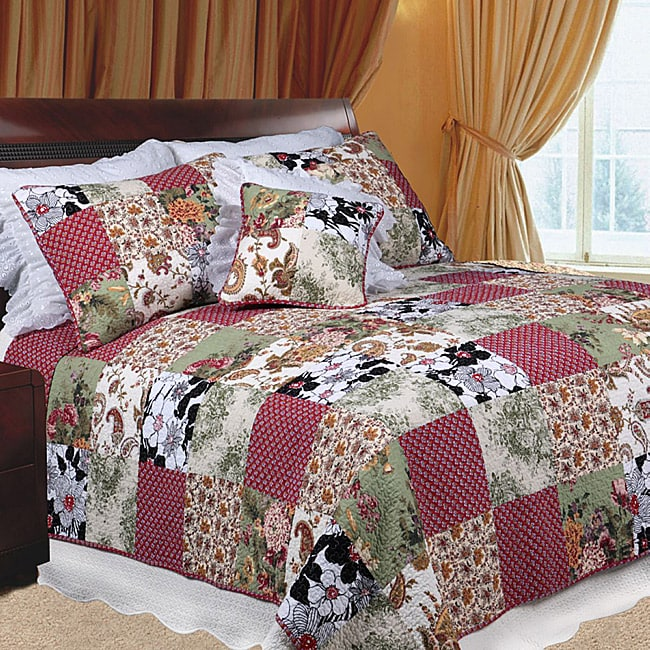 Julie's Garden Full/ Queen-size Quilt Set (Red, Black, Wh...