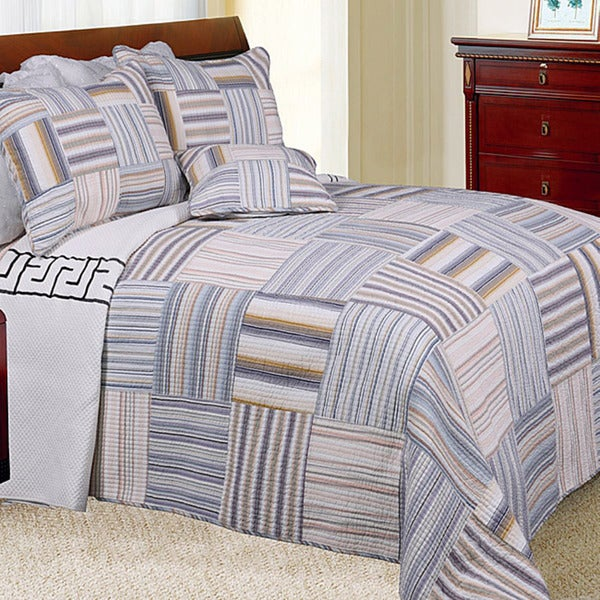Kevin Striped Patchwork Twin-size 2-piece Quilt Set