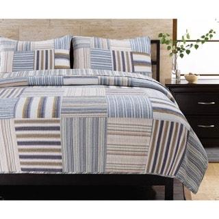 Kevin Striped Patchwork Quilt Set
