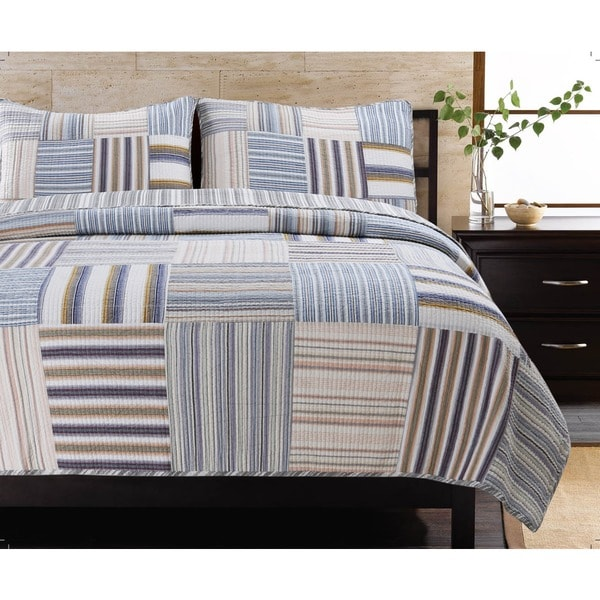 Kevin Striped Patchwork Quilt Set